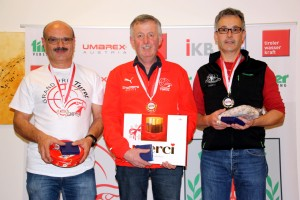 Bewerb 1 - Masters 1 (v.l.): Norbert Stefani (2.), Manfred Ladner (1.), Alois Larcher (3.)