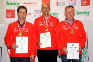 Mannschaft Tirol senioren 1 (v.l.) Franz Mair (Osttirol), Christof Melmer, Manfred Ladner (Kappl)