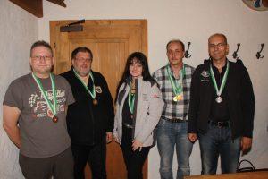 vl.: Meinhard Floriani (Haiming), 3. Pl. Sen1 Liegend, Hannes Gufler (Umhausen), 1. Platz Sen1 Liegend, Eva Suitner (Haiming), 2. Platz Frauen Liegend, Martin Kammerlander (Umhausen), 1. Platz Männer Liegend, Christif Melmer, 2. Platz Sen1 Liegend